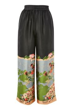 Chinese Artwork Satin Cropped Trousers