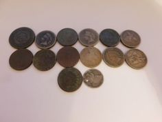 lot of 14 mixed coins includes Indian head pennies