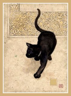 Black Cat Card by Bug Art. A beautiful card embossed with gold highlights. We have many other artistic cat cards available. Crazy Cat Lady, Crazy Cats, I Love Cats, Cool Cats, Black Cat Art, Black Cats, Black Kitty, Animal Gato, Bug Art