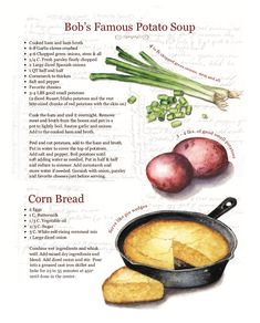 Illustrated recipe created for your favorite family heirloom recipes - Comes with 8 - prints Old Recipes, Vintage Recipes, Dinner Recipes, Cooking Recipes, Healthy Recipes, Turkey Recipes, Healthy Desserts, Dessert Recipes, Icing Recipes