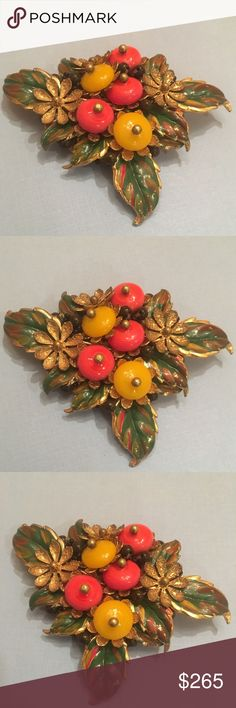 Antique Vintage Cornucopia Fruit & Nature Pin Vintage Antique Gold Cornucopia Fruit & Leaves Pin. Enamel green leaves. Colorful raised beads. Gold flowers with detail. Very intricate design with hand drilled & Handset beads. 3 inches long and 4 inches wide. Very old & rare pin. Vintage Jewelry Brooches