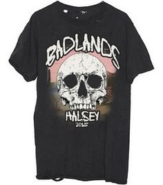 Printed and hand distressed on 100% cotton Halsey Badlands t-shirts.