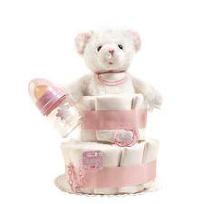 Pastel de pañales Dulces Osito rosa