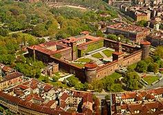 Castello Sforzesco dates from the 15th century; Italian