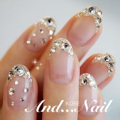 Add instant glam to your nails with this year's latest nails with rhinestones trend. Rhinestone nails are every glamour girl's dream! Fabulous Nails, Gorgeous Nails, Love Nails, Pretty Nails, Rhinestone Nails, Bling Nails, Glitter Nails, French Nail Designs, Nail Art Designs