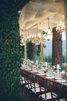 Stunning vineyard wedding reception decor with banquet tables & crystal chandeliers