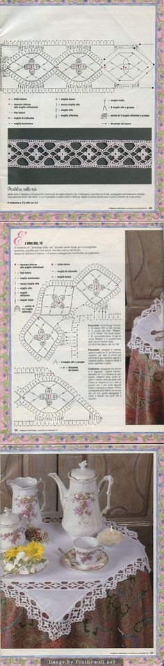Lovely flower insertion & edging (incl. turning corner) ~~ http://www.webchiem.com/2011/05/crochet-lace-more-patterns-in-crochet.html?m=1