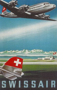 SwissAir. 1955. Switzerland. Air Travel Poster..FEB16                                                                                                                                                                                 More