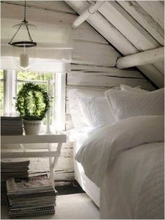 .love small spaces...and WHITE again...the NEW IT color! lol lol!!!!! Fun times..it just needs some turquoise sheets..to BRIGHTEN the fab tiny space! and where is the new chandelier LOVE? ~confused!