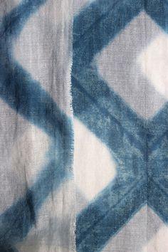 Rhomb Tile Shibori Hand Dyed Cotton Muslin Shawl Scarf by Rejell