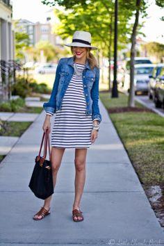 Summer stripes, Panama hat, Red lip