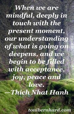 Truly being in touch with the present moment brings acceptance, joy, peace, and… Thich Nhat Hanh, Meditation Quotes, Yoga Quotes, Vipassana Meditation, Quotes Quotes, Affirmations, Spiritual Quotes, Peace Quotes, Spiritual Awakening