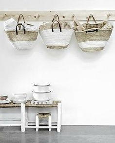 Market baskets instead of boxes or bins - amazing!