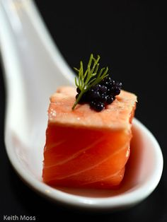 Salmon and Caviar. VIP flight attendant catering training details at www.trainingsolutions.ch