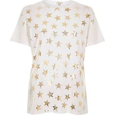 White metallic foil star print T-shirt $36.00