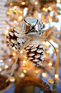 DIY pinecone and jingle bell Christmas ornament. Pine Cone Christmas Tree, Rustic Christmas Ornaments, Pinecone Ornaments, Homemade Christmas Decorations, Noel Christmas, All Things Christmas, Winter Christmas, Christmas Crafts, Christmas Ideas