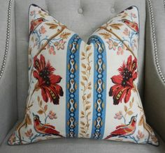 """Decorative Designer Pillow Cover - 20""""X20"""" - Brunschwig&Fils - Le Lac Border print in Red/Blue - Pattern on the front"""