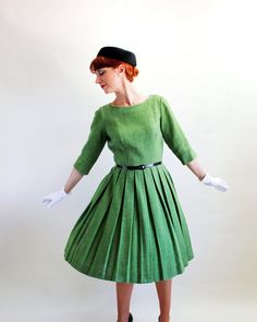 Sale  Vintage 1950s Green Wool Pleated Dress Peck & by gogovintage, $120.00