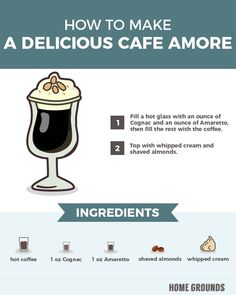 a Delicious Cafe Amore Alcoholic Coffee Drinks, Coffee Drink Recipes, Coffee Cocktails, Beverages, Coffee Barista, Hot Coffee, Coffee Break, Coffee Menu, Warm Cocktails
