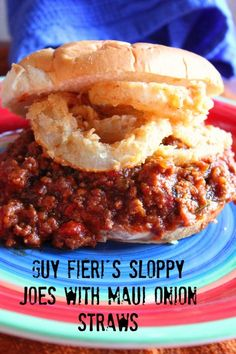 Guy Fieri& Sloppy Joes with Maui Onion Rings. You won& go back to Manwich. Beef Recipes, Cooking Recipes, Wing Recipes, Beef Meals, Copycat Recipes, Cooking Ideas, Great Recipes, Favorite Recipes, Yummy Recipes