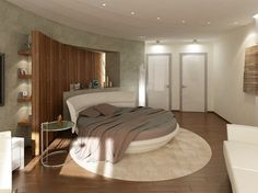 Circle Bed in Unique Bedroom Interior Design - Small Design Ideas Interior Design, Serene Bedroom, Bedroom Decor, Bed Design, Bedroom Interior, Contemporary Bedroom, Round Beds, Modern Bedroom, Home Decor