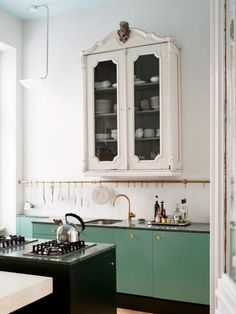 Vintage-Modern Kitchen and Dining Area : sfgirlbybay Green Kitchen, New Kitchen, Kitchen Dining, Kitchen Decor, Kitchen Cabinets, Green Cabinets, Kitchen Storage, Kitchen Ideas, Kitchen Tools