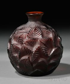 Rene Lalique Amber Ormeaux Art Glass Vase | design date 1926, Short neck on bulbous glass form w/ molded overlapping leaves, marked on base R. Lalique France