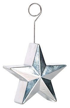 Possible table decoration and giveaway;   Silver Star Photo/Balloon Holder