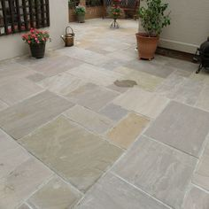 Natural Paving Classicstone collection Lakeland flagstones is a best seller from the classicstone range due to its popularity lakeland is available in project packs single sizes circle kits walling stepping stones and copings Paving Stone Patio, Limestone Patio, Outdoor Paving, Sandstone Paving, Patio Slabs, Patio Tiles, Paved Patio, Garden Paving, Outdoor Stone