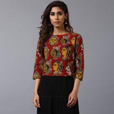 Short Kurti Designs, Simple Kurti Designs, Salwar Designs, Kurta Designs Women, Saree Blouse Designs, Kalamkari Skirts, Kalamkari Tops, Salwar Pattern, Casual Frocks