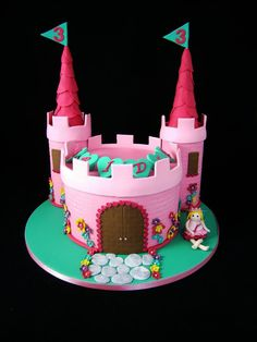Fairy Princess Castle Cake - Towers are foam covered in fondant and the turrets are ice cream cones covered in fondant circles.