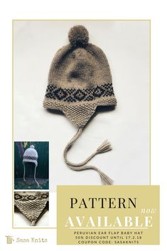 The stitch patten is inspired by the traditional arts from the Andes. During my travels through South America, I witnessed many tradional fabrics and knitting/weaving techniques in Peru. Knitting Designs, Knitting Patterns, Crochet Patterns, Baby Hat Patterns, Weaving Techniques, Baby Design, Baby Hats, Traditional Art, Baby Knitting