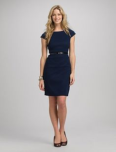 34193b6e937 Belted Seamed Dress Misses Clothing