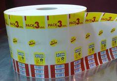 Etiquetas para agrupaciones - Las agrupaciones son una solución promocional para vender más unidades por cada acto de compra. Venda más en cada acción del consumidor. Amplia gama de soluciones. En bobinas de etiquetas autoadhesivas