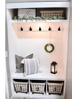 Closet drop zone with headboard background, built-in bench, and lots of baskets and hooks for storage. Entry Closet, Front Closet, Closet Mudroom, Entryway Storage, Entryway Decor, Entryway Ideas, Closet Storage, Bench In Entryway, Closet Bench