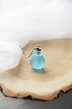 Teal Perfume Bottle Pendant Murano Glass Perfume by kskalozubova