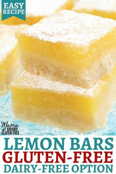 gluten free dairy free dessert An easy recipe for Gluten-Free Lemon Bars. These tangy lemon squares are made with a buttery shortbread crust and a fresh lemon curd filling. This gluten-free dessert also has a dairy-free option to the lemon bars recipe. Gluten Free Deserts, Gluten Free Sweets, Gluten Free Baking, Cookies Sans Gluten, Dessert Sans Gluten, Dairy Free Options, Dairy Free Recipes, Gluten And Dairy Free Desserts Easy, Dairy Free Lemon Bars