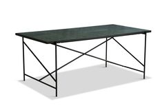 Dining Table 185 in Black with Green Marble designed in Denmark by Emil Thorup Green Marble, Black Marble, Marble Top, Tile Top Tables, Honed Marble, Italian Marble, Hotel Decor, Danish Design, Steel Frame