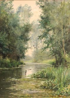 Louis Aston Knight (1873 - 1948, USA)   A tranquil river scene. watercolor over pencil...
