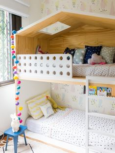 Cute bunkbed for girl's room. Baby Bedroom, Girls Bedroom, Bedroom Decor, Bedroom Ideas, Kid Beds, Girl Room, Toddler Bed, Decoration, Home Decor