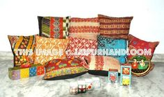 indian patchwork cushions set of 10 $79.99