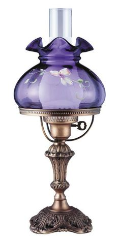 Fenton Art Glass ~ 19 Butterfly Kiss on Violet Student Lamp Antique Oil Lamps, Old Lamps, Vintage Lamps, Vintage Lighting, Vintage Hurricane Lamps, Fenton Lamps, Fenton Glassware, Purple Lamp, Tulips