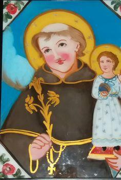 Pittura su Vetro - S. Antonio da Padova (particolare) Cm 40x30  olio su vetro con decori in oro Per info e costi : Pincisanti@hotmail.com