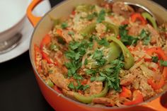 {Spicy Chicken Sausage Skillet with Peppers and Onions}