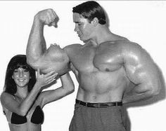 An 18-year-old Arnold Schwarzenegger showing his muscles