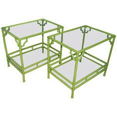 Hollywood Regency Faux Bamboo Side Tables