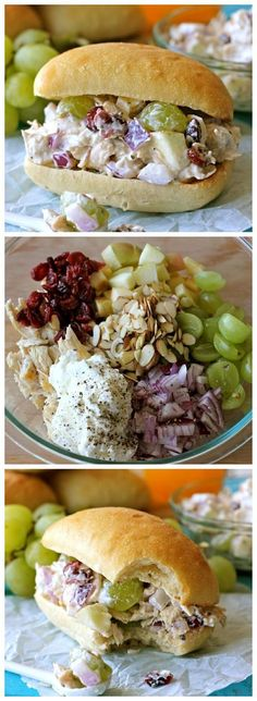 Greek Yogurt Chicken Salad, Grapes, Onion, Almonds and Cranberries SandwichI