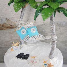 Honeymoon Hammock Destiniation Beach Wedding Cake Topper Made To Order Artisan Designed Handmade