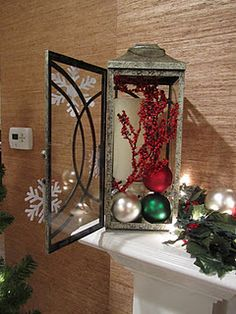 lantern filled with Christmas-y items