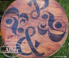 """Ampersand and """"&"""" painted on a lazy Susan. Cool pattern! How about pool your letters and punctuation out and use them to make abstract patterns?"""